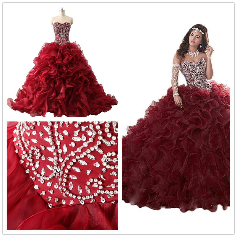 Setwell Real Pic Sweet 16 Strapless Ball Gown Organza Quinceanera Dress Sleeveless Floor Length Puffy Tiered Beaded Prom Bridal Gown