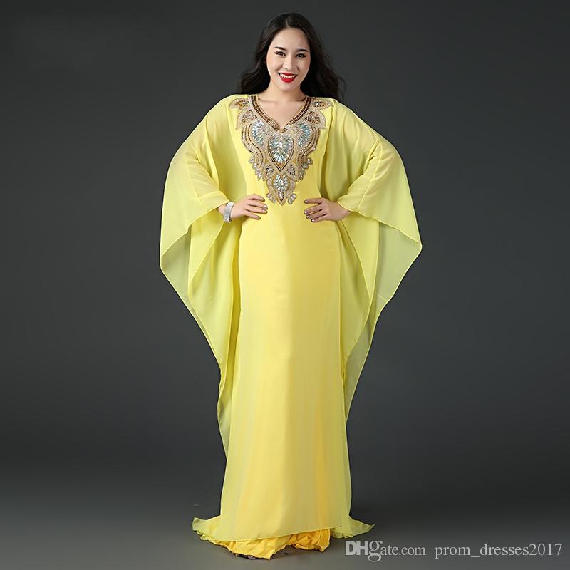 Abaya Dubai Islâmico Kaftan Chiffon Cristal Árabe Noite Vestidos Longo Mangas Frisadas Vestidos De Prom Vestidos De Festa Personalizado