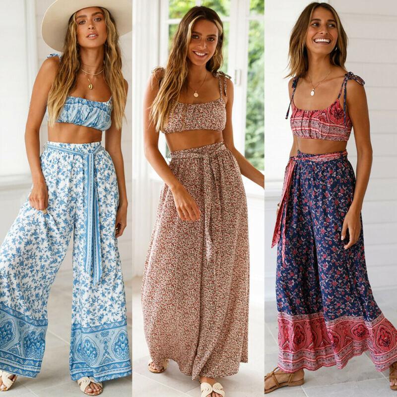 2020 Yeni Kadın Boho Hippi Yüksek Bel Gevşek Geniş Bacak Flared Bell Alt Flroal Uzun Pantolon Artı boyutu S-XXL