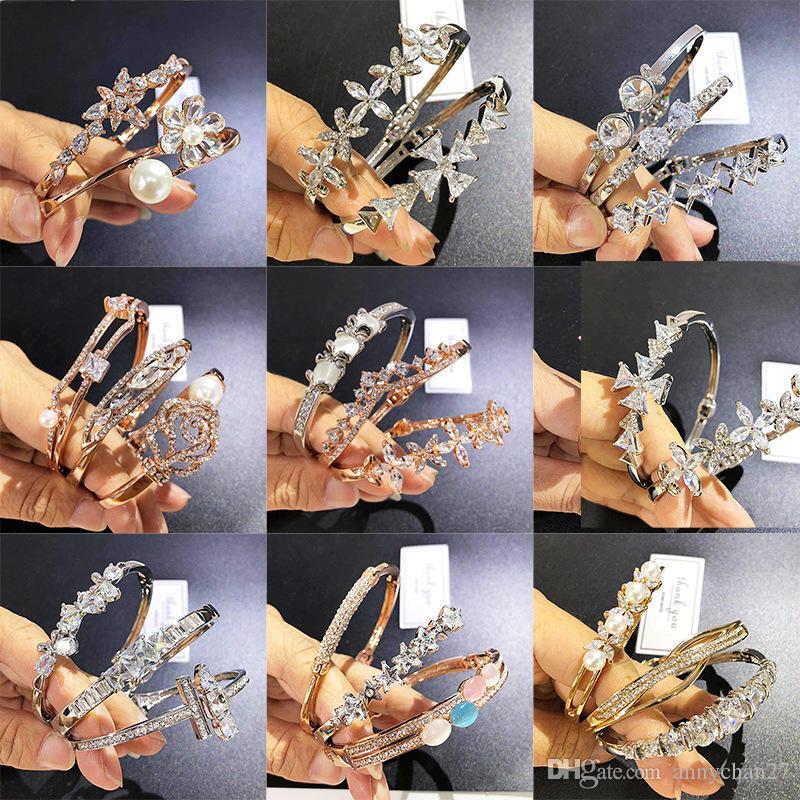 Zircon bracelet Gold Plated Mix Different bangle Wholesale Crystal rhinestone Rose Gold Silver Luxury Alloy Fashion Wedding Charm bangle DHL