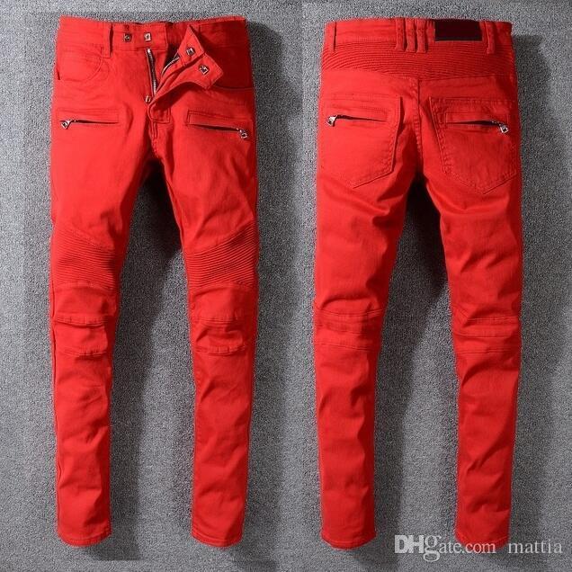 Compre Buena Calidad Hombres Jeans Nuevas Cremalleras De Moda Flacas Y Ajustadas Para Hombre De Algodon Pantalones Vaqueros De Mezclilla Pantalones Vaqueros Rojos Pantalones De Mezclilla Pantalones Tamano 29 42 A 44 87
