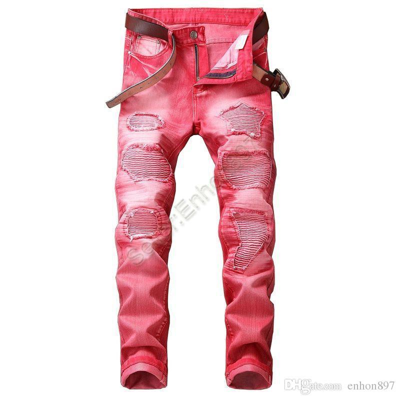 neue Art Art und Weise Mode für Männer Jeans-Qualitäts-Farbe dünner Sitz Spliced zerrissenen Jeans-High Street zerstört Biker Männer MT011