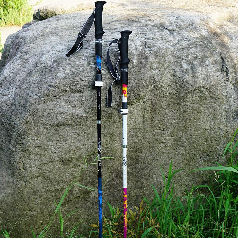 Carbon Folding Walking Sticks Ultra-light Adjustable Camping Hiking Walking Stick Alpenstock Poles Bastones Trekking Cane 2020