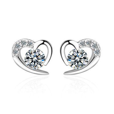 새로운 패션 기질 지르콘 웨딩 귀걸이 숙녀 달콤한 하트 모양의 중공 다이아몬드 귀걸이 귀 보석 소매 도매