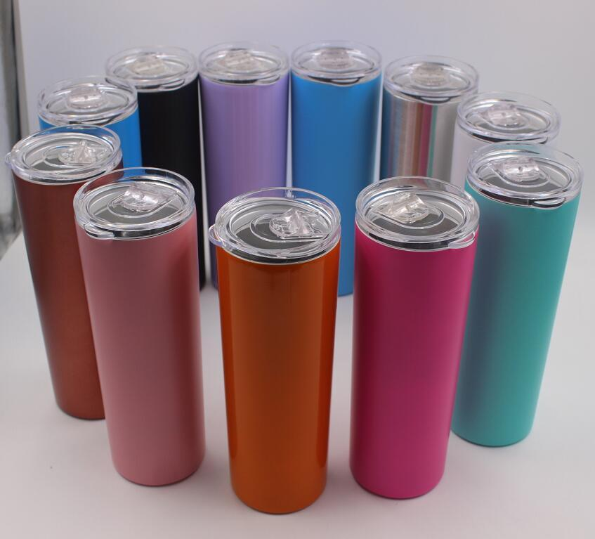 50pcs 20oz Skinny Tumbler Cups Double Wall Stainless Steel Tumbler Vacuum Insulated Straight Cugs Beer Coffee mugs with straws & lids P0501