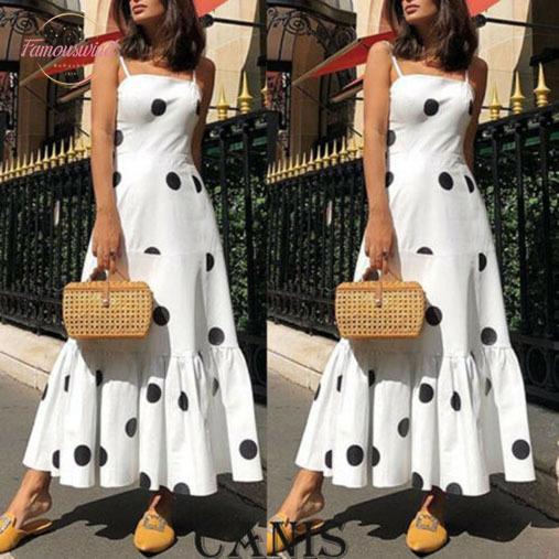 2020 neue heißen Sommer-Mode Neuesten Frauen Boho Punkt-hohe Taillen-Sommer-Partei-Abend-Strand-Sleeveless langer Kleid-Maxi Sundress
