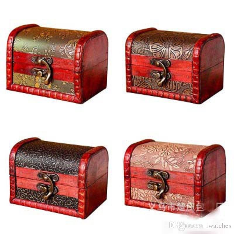 Antique wooden box 10.5*7.5*7.5cm gold and silver jewelry receiving box creative gift exquisite gift box
