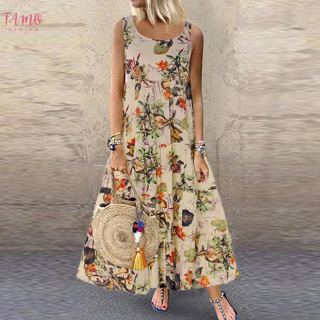 Elbiseler Kadınlar Plus Size V Yaka Yaz 2019 Boho O Yaka Uzun Maxi Elbise Robe Kadın Vintage Kolsuz Uzun Elbise Vestido yazdır