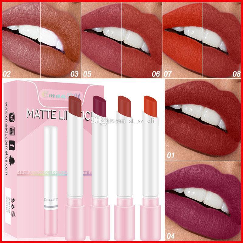 Cmaadu 4 Colors Matte Long Lasting Waterproof Cigarette Lipstick Fog Surface Sexy Nude Lipstick Set maquillaje batom Lip Kit 2 Styles