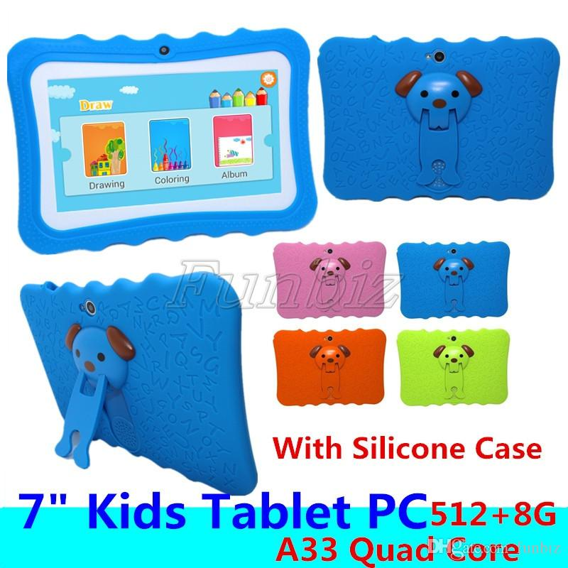 Cheap Kids Tablet PC 7 inch Allwinner A33 Quad Core 512 8GB children tablets Android 4.4 wifi big speaker + Silicone case gift