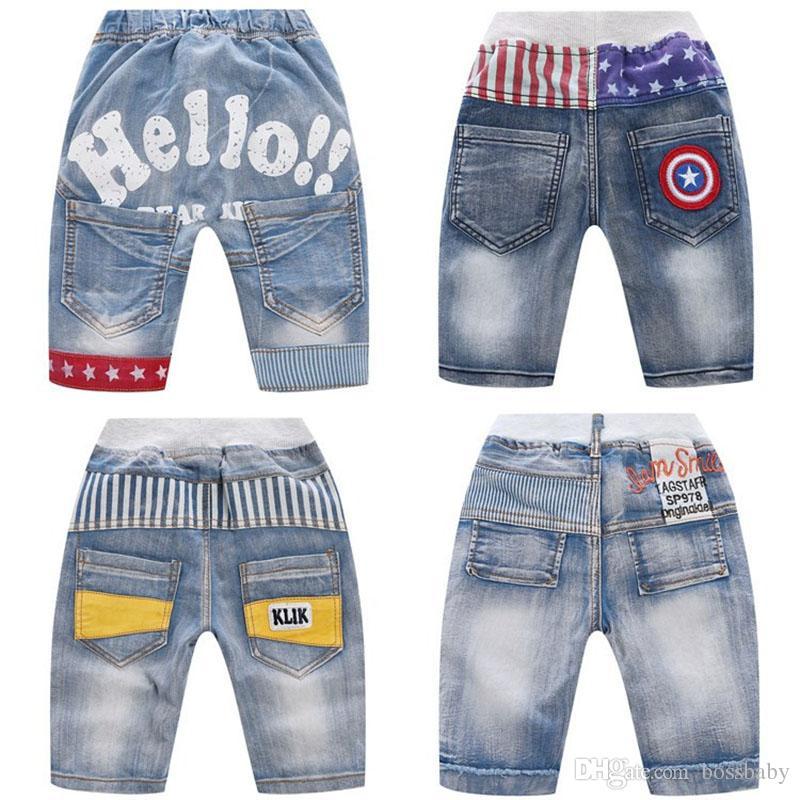 Crianças Boy Jeans Estrelas Listrado Carta Impressa Bordado Denim Shorts Bolso Cintura Elástica Calças de Brim Curtas Menino Cintura Oriente Shorts Casuais