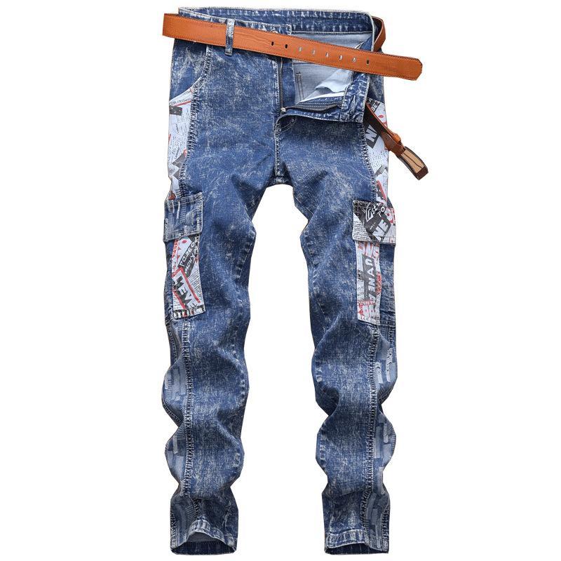 Homens novos Jeans European American Style Snow Grain Lavados Pattern bolso costura longa Denim Calças Lápis para o sexo masculino