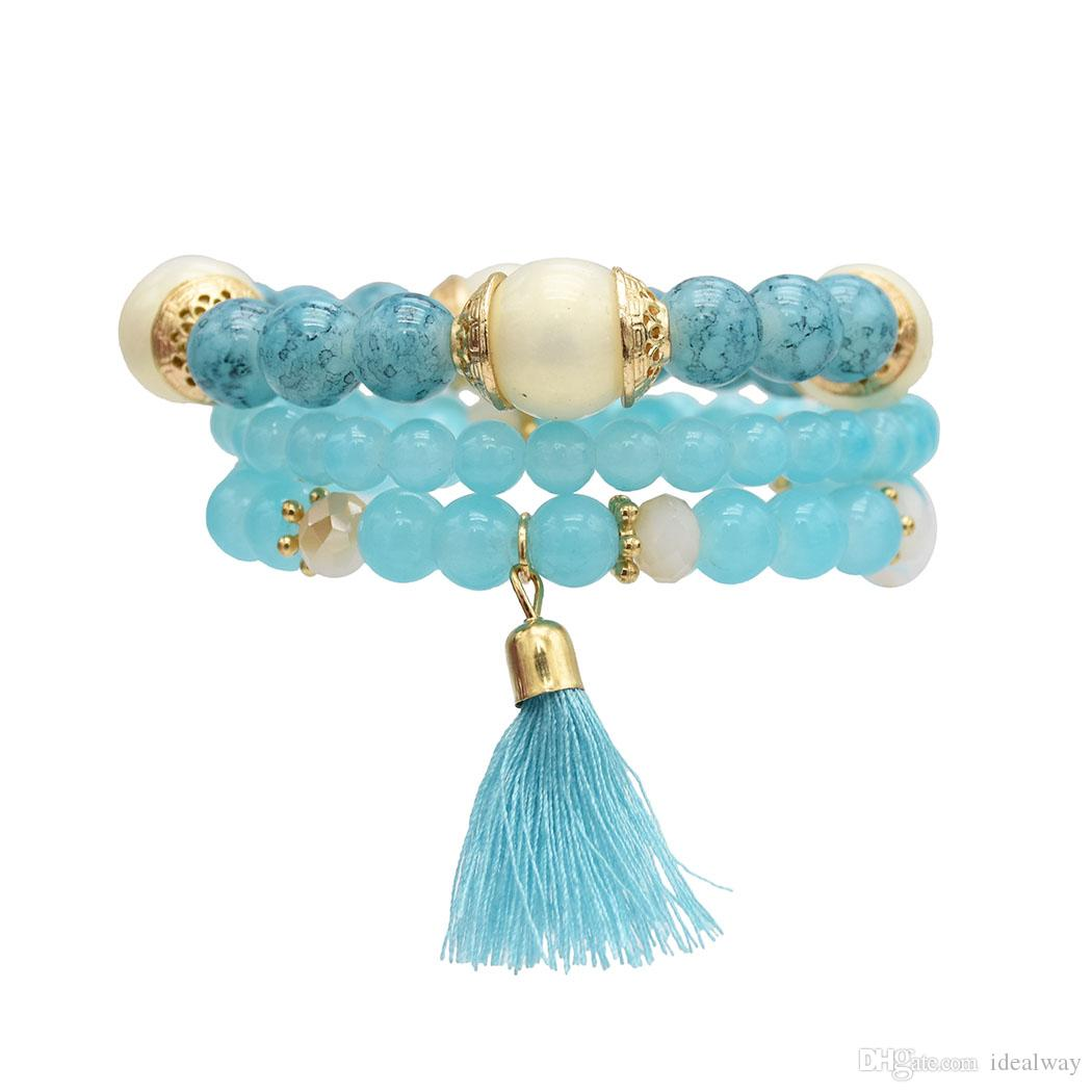 European and American vogue is small pure and fresh tassel bracelet boximiya is melting string of beads multilayer bracelet bouncy multilaye