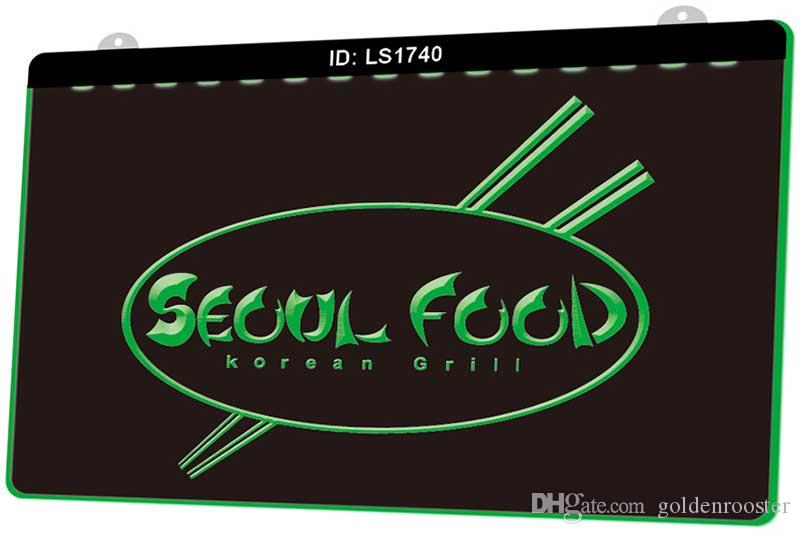 LS1740 Seoul Food Korean Restaurant Neue 3D-Gravur LED-Licht-Zeichen anpassen on Demand Multiple Color