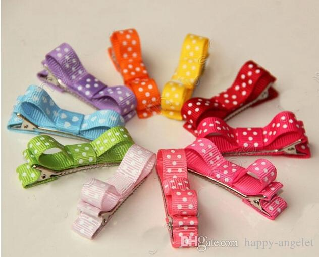 Mini Hair Accessories Bows Clips layered Polka Dot Ribbon covered Double Single Prong Duckbill Alligator Hairpins Baby headwear 60pcs FJ3226