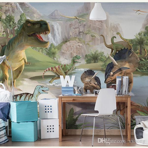Bacaz Ручная роспись Динозавра Росписи Животных 3d Настенные Фотообои Обои для Стен Фон Большой Papel Росписи 3d Настенные