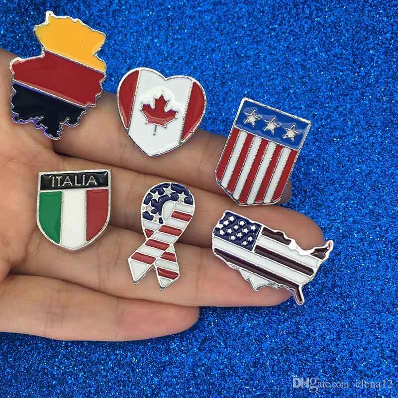 Milli bayrakları Emaye Pim Kanadalı Amerikan Alman İtalyan Bayrağı tasarımcı Pim Düğme Şapka Çanta Giyim Yaka Pin Badge broş Mücevher broşlar