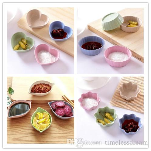 4 디자인 조미료 접시 스낵 플레이트 소금 식초 간장 소스 접시 조미료 용기 분해 밀 짚 그릇