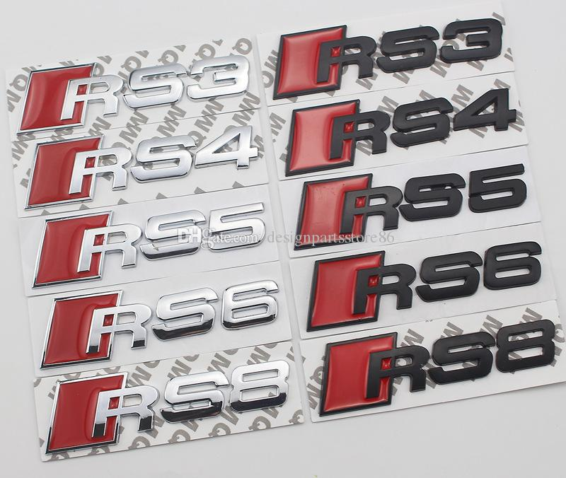 Decal Atacado adesivo de carro Auto Metal 3D Car emblemas emblemas cromados adesivos para carros Preto Prata RS3 RS4 RS5 RS6 RS7 S8 para Audi Car-styling