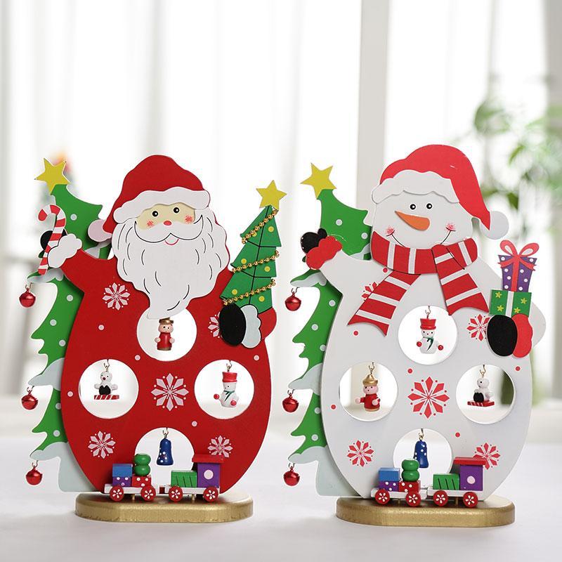 2019 regalos de madera de la Navidad de Santa Claus Escena decoraciones de Navidad Regalos de Navidad Adornos de muñecas muñeco de nieve