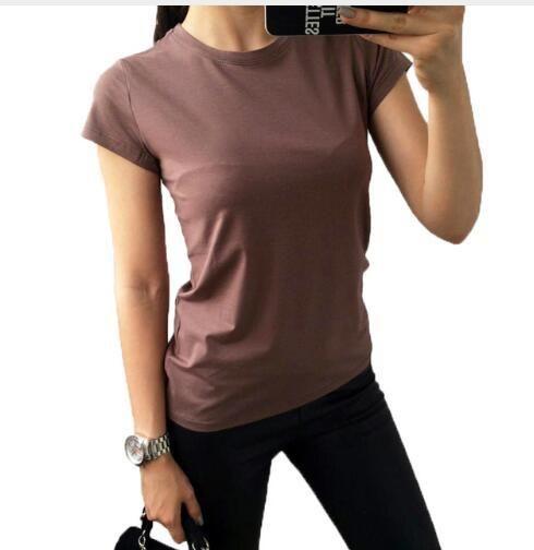 T-shirt di alta qualità 5 colori S-2XL stampa T-shirt da donna in cotone elastico basic Magliette casual donna T-shirt manica corta da donna