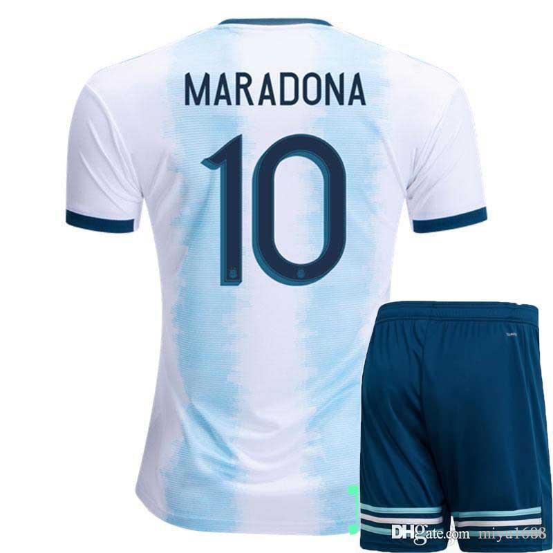 top 2019 Copa America Argentina men soccer set Jersey shorts home Kit Jerseys MESSI DI MARIA football Shirt DYBALA uniform