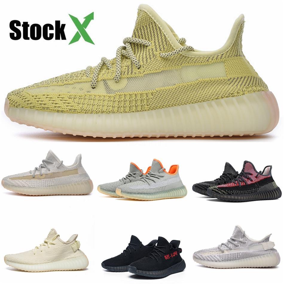 2020 Kanye West Terra estática Desert Sábio Cinder Marca Sneakers Brilho Mens reflexivos Running Shoes cauda Zebra Black Light Womens instrutor # QA923