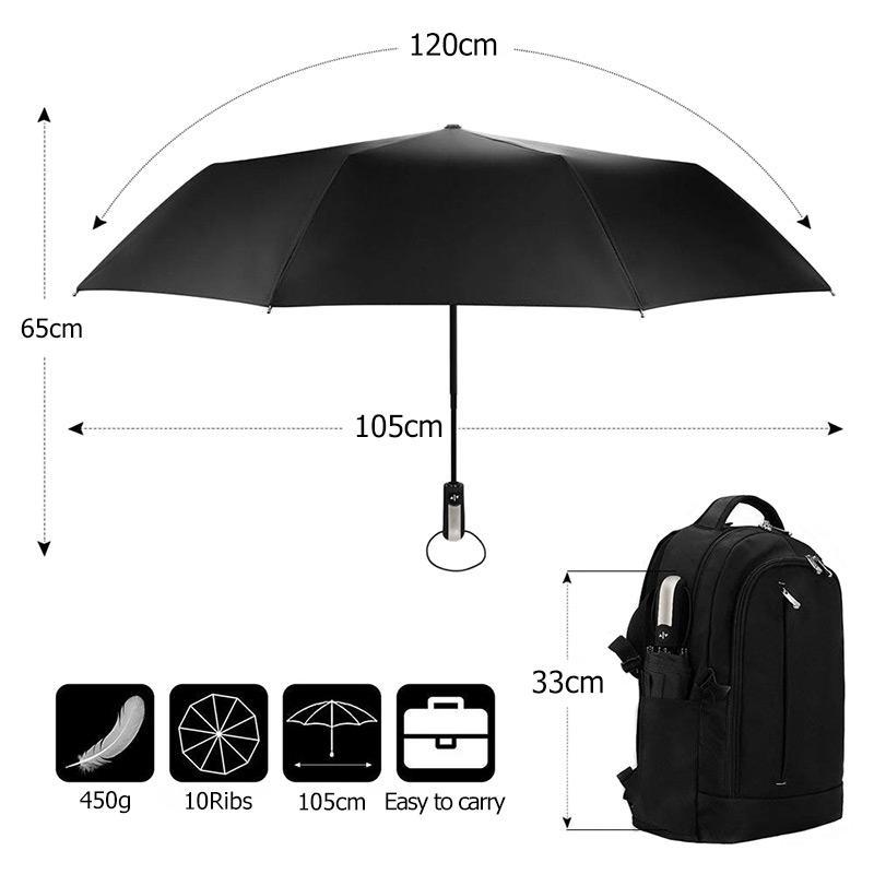 10K Automatic 3Folding Big Umbrella Rain Women Durable Strong Windproof Umbrella Men Business Car Umbrellas Travel Big Paraguas