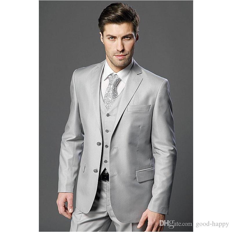 Brand New Light Grey Novio Esmoquin Muesca Solapa Groomsman Boda Traje de 3 piezas Hombres populares Chaqueta de negocios Chaqueta (Chaqueta + Pantalones + Corbata + Chaleco) 2655