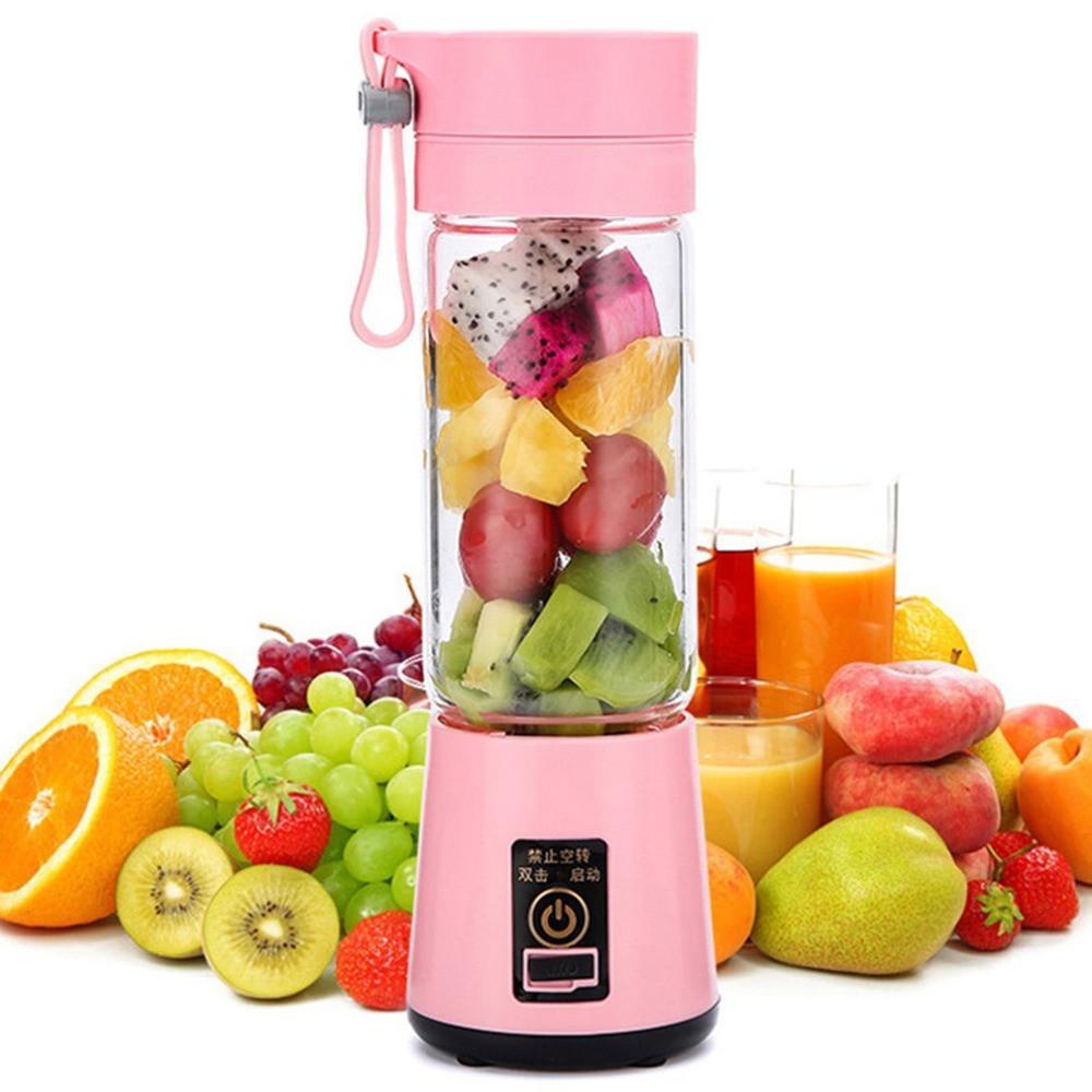 전기 과일 과즙 6 Blandes 400ml의 휴대용 주스 추출기 압착기 가정용 다기능 과즙 컵 4 색