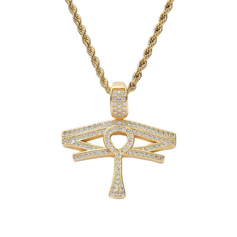Evil Eye Anhänger Halskette Gold plattiert Kupfer Intarsien Zirkonia Anka Kreuz Anhänger 60cm Edelstahlkette Unisex-Zubehör