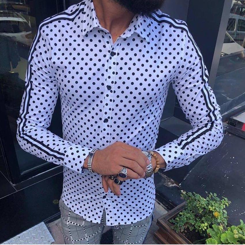 acheter mieux offre spéciale bas prix Acheter Printemps 2019 Chemises Pour Hommes Casual Chemise Nouvelle Arrivée  À Manches Longues De Luxe Casual Slim Fit Chemise Homme Polka Dot Hommes ...