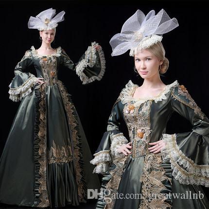 100% de coronación real bordado de lujo flare manga de encaje corte real vestido de fiesta Medieval vestido Renacimiento victoriana Belle Ball