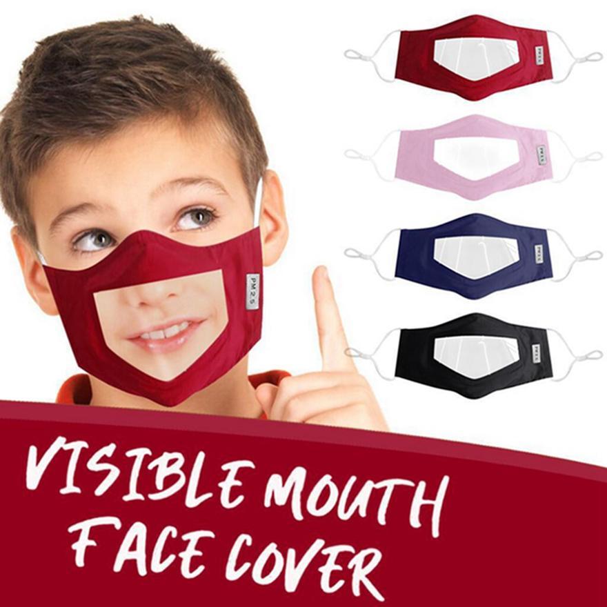Máscara Deaf Mute Rosto Crianças lavável reutilizável Máscara em PVC transparente Máscaras Boca Visível Anti Poeira cobrir a boca HHA1498