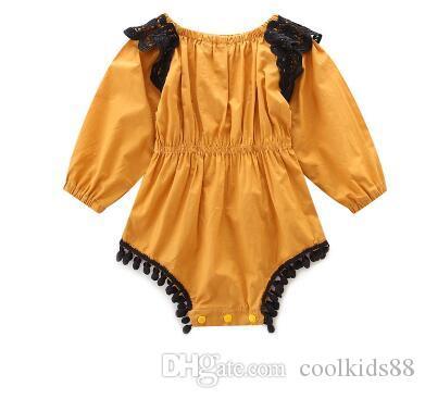 여름 패션 레이스 노란색 긴 소매 여자 아기 의류 개의 Tassels 볼 탄력있는 허리 점프 수트 신생아 뛰어 돌아 다니는 사람