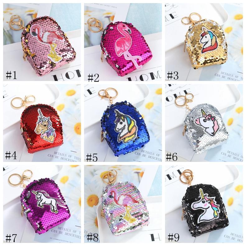 Mädchen Mermaid Pailletten Geldbörse Einhorn Flamingo Glitter Keychain Geldtasche Mini-Mappen-Münzen-Beutel-Reißverschluss Keyrings Favor 12styles GGA2843