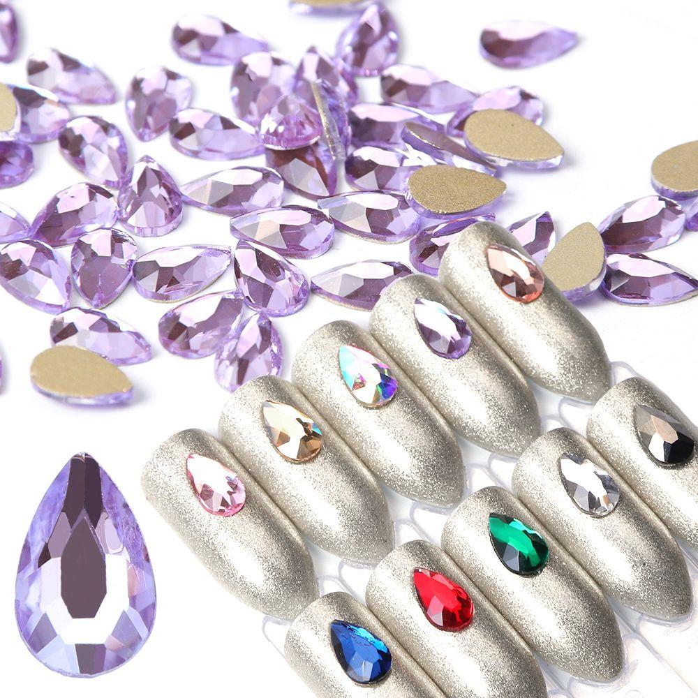 10 adet Tırnak Kristalleri Flatback Waterdrop Nail Art Dekorasyon Rhinestones 3D Strass Charm Cam Mücevher Manikür Aksesuarları JIA41