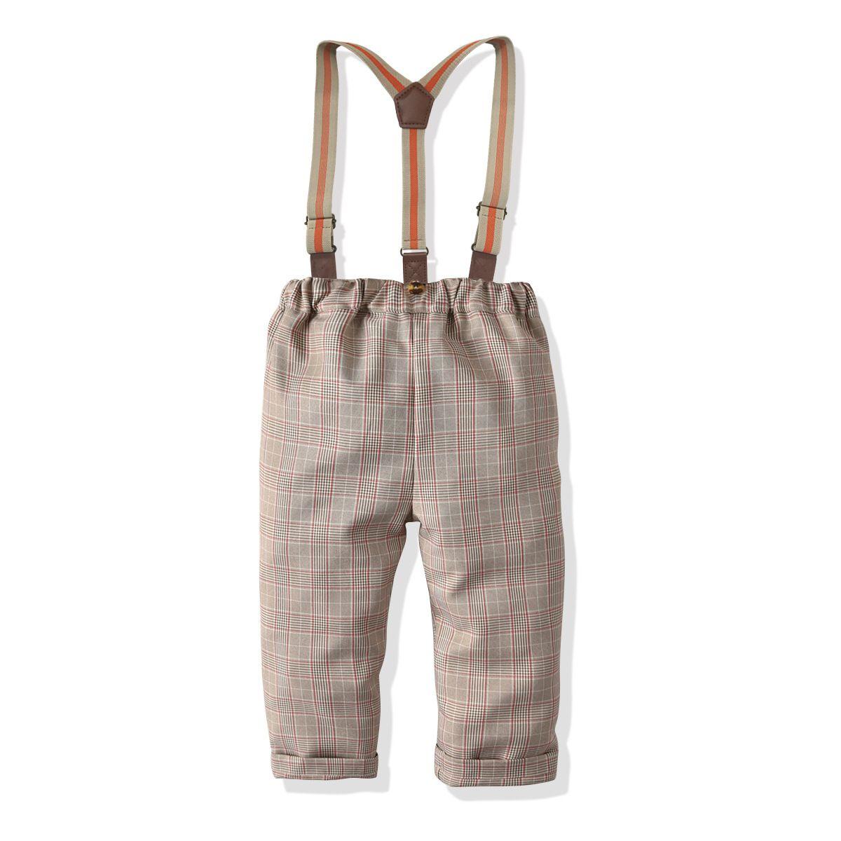 Çocuk Giyim Çocuk Pantolon İngiliz-Style Ekose Suit Pantolon Askı Pantolon Koleji Rüzgar Boys Pantolon Elbise