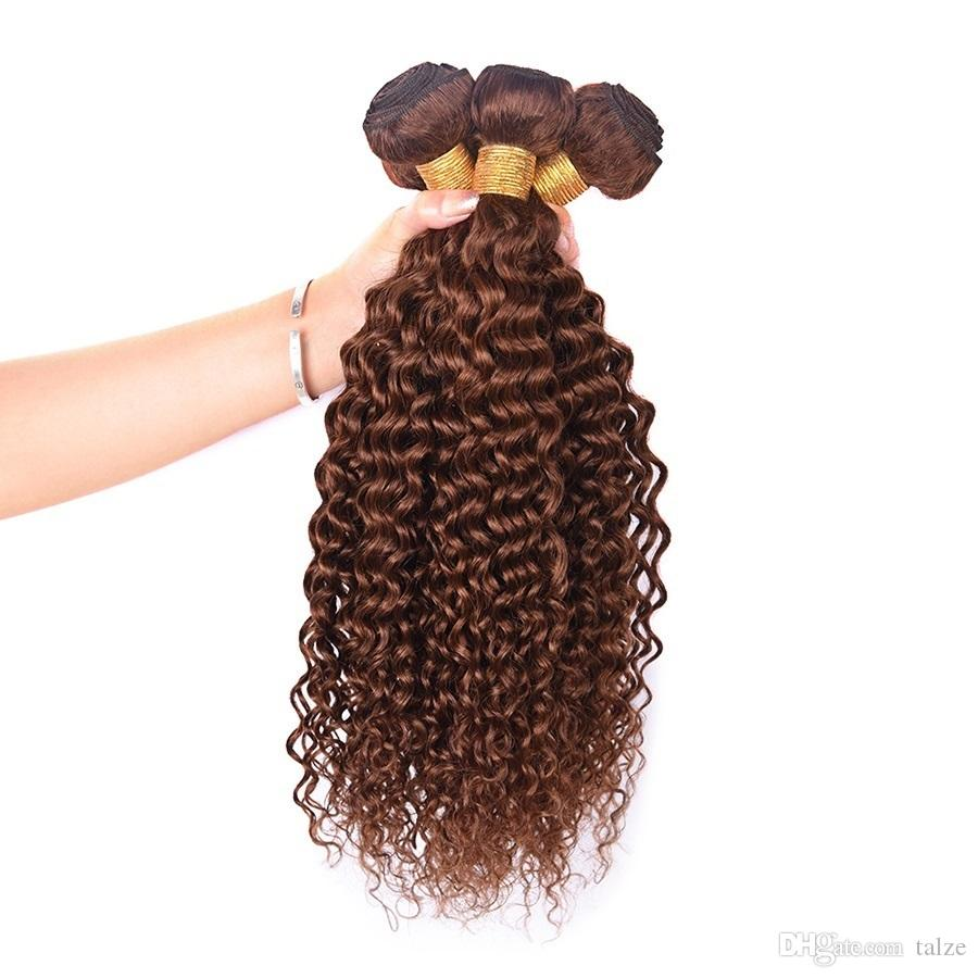 Malaysian Hair Kinky Curly Extensions Human Hair Weaving Bundles 4# Light Brown Color 1/3Piece 100G Remy Curly Hair Bundles
