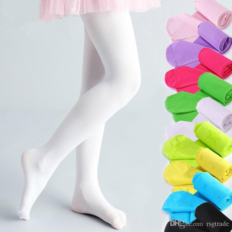 Free DHL 16 Colors Girls Pantyhose Tights Candy Color Children Clothes for Baby Kids Cotton Blends Stockings for Girls Dance Tights