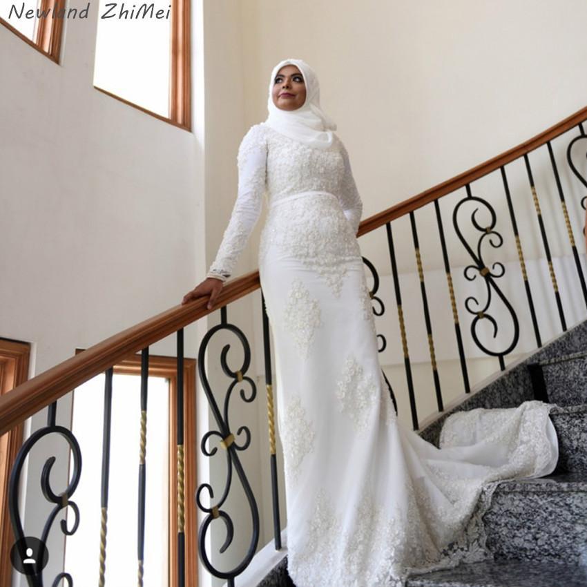 Newland ZhiMei 높은 목 긴 소매 공주 레이스 골치 아픈 럭셔리 무슬림 웨딩 드레스 긴 사우디 아랍어 결혼 신부 드레스