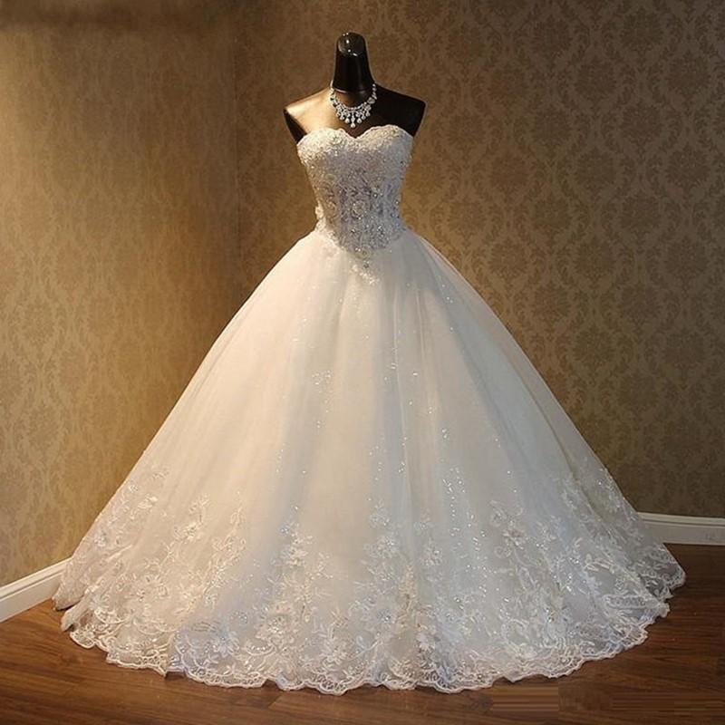 Natürlich Bild 2020 elegante Luxus Spitze Brautkleid Vintage-Plus Size Ballkleider Vestido De Noiva Maß Lace Up