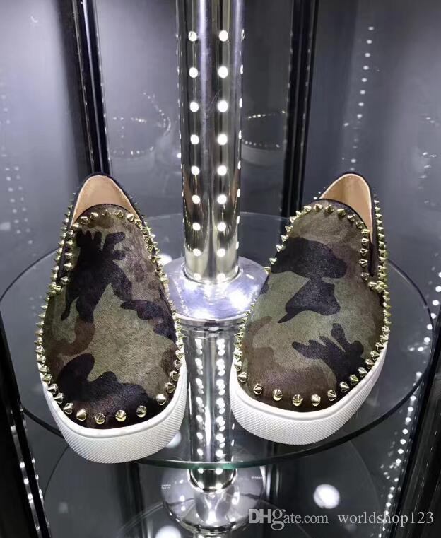 Cabelo Verde Flats Oxfords cavalo cabelo Exército Camo Suede Sneakers Casal Fashion Design parte inferior vermelha de vestido preguiçosos Shoes sapato Lazer Orlato Femininos