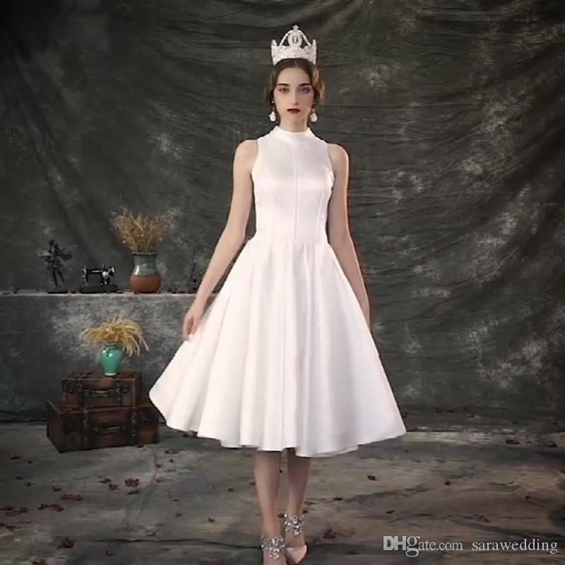 Lace Cut-out Back Satin Beach Wedding Dress without Crown 2019 Summer Tea Length Bridal Dress Trouwjurk Wedding Gown