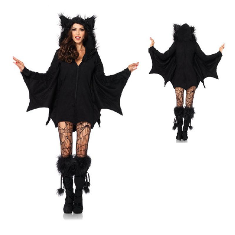 Envío de las mujeres cosplay Negro mal palo de vampiro Diablo Disfraz ropa caliente Sexy adultos de Halloween