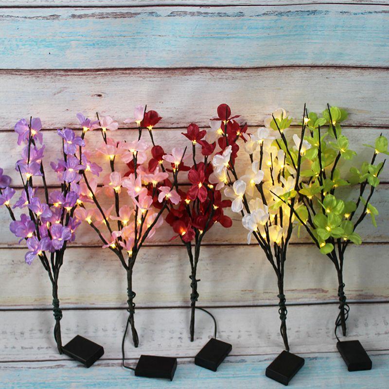 """20"""" Flor de cerejeira Flor de pulverização com 30 bateria operado iluminado LED Ramo luzes LED Flores Decoração de Cordas casamento decoração do quarto"""