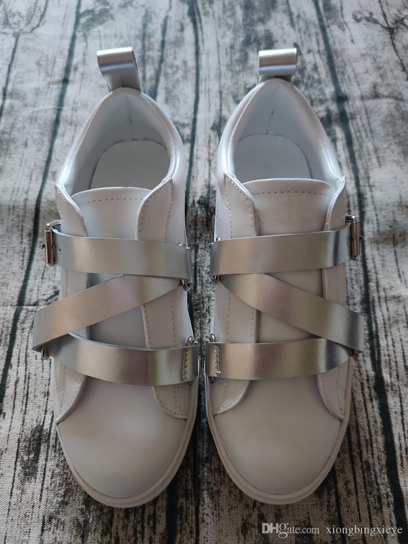 Nouveau cuir rayé or argent chaussures hommes de luxe et de femme rivet marche chaussures de sport occasionnels taille 35-46