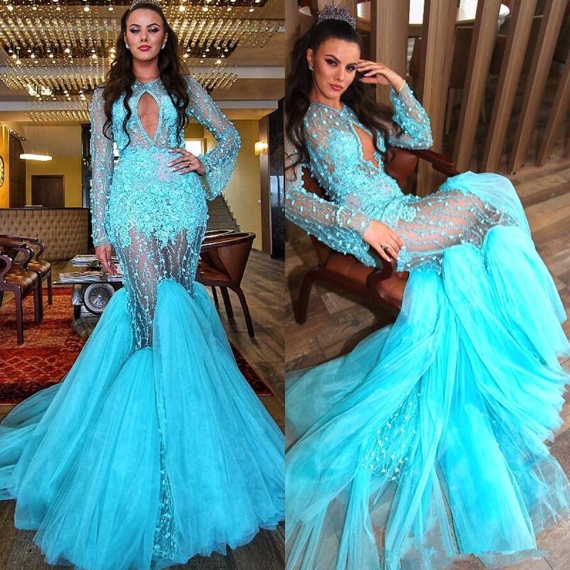 Turchese Blue Mermaid Abiti da ballo Sexy Maniche lunghe Abiti da sera Tulle Sweep Train Appliques Cocktail Party Dress Vestido de Fiesta