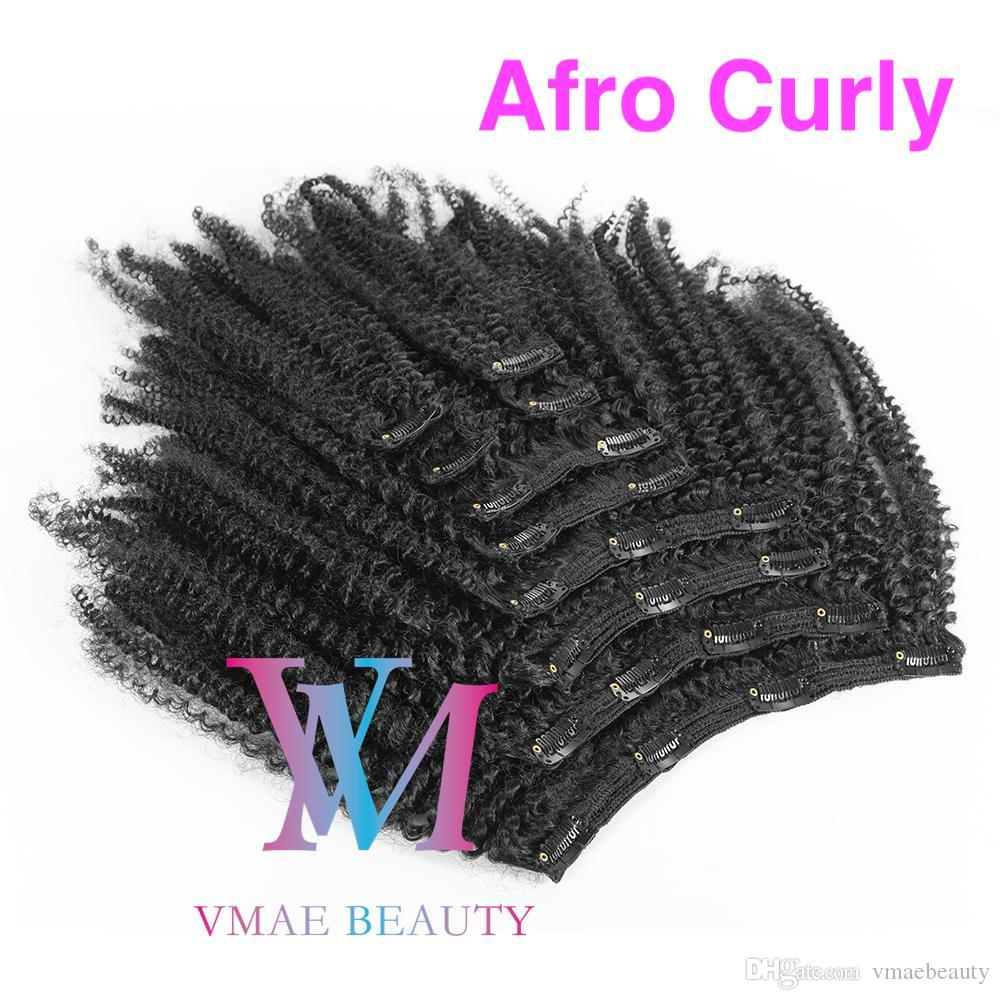 Brazilian Virgin Body Deep Kinky Curly Hair Cip In Natural Black 100g 120g 140g 160g Virgin Human Unprocessed Hair Extension Clips Ins Easy
