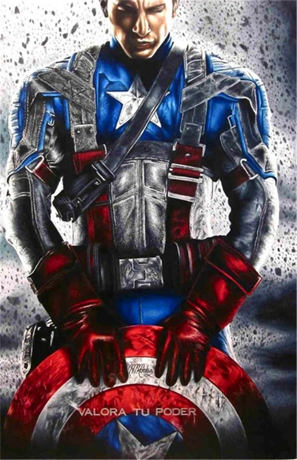 ZYXIAO USA movie Captain shield Wall Oil Painting Art picture print on canvas No Frame for bedroom living home mosaic decor gift YH0340